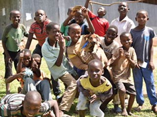 Children in East Africa where rabies vaccination project continues