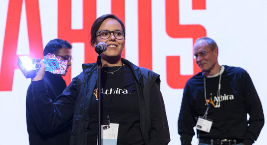 Athira Pharma CEO Leen Kawas accepts the award for CEO of the Year at the 2019 GeekWire Awards. (GeekWire Photo / Kevin Lisota)