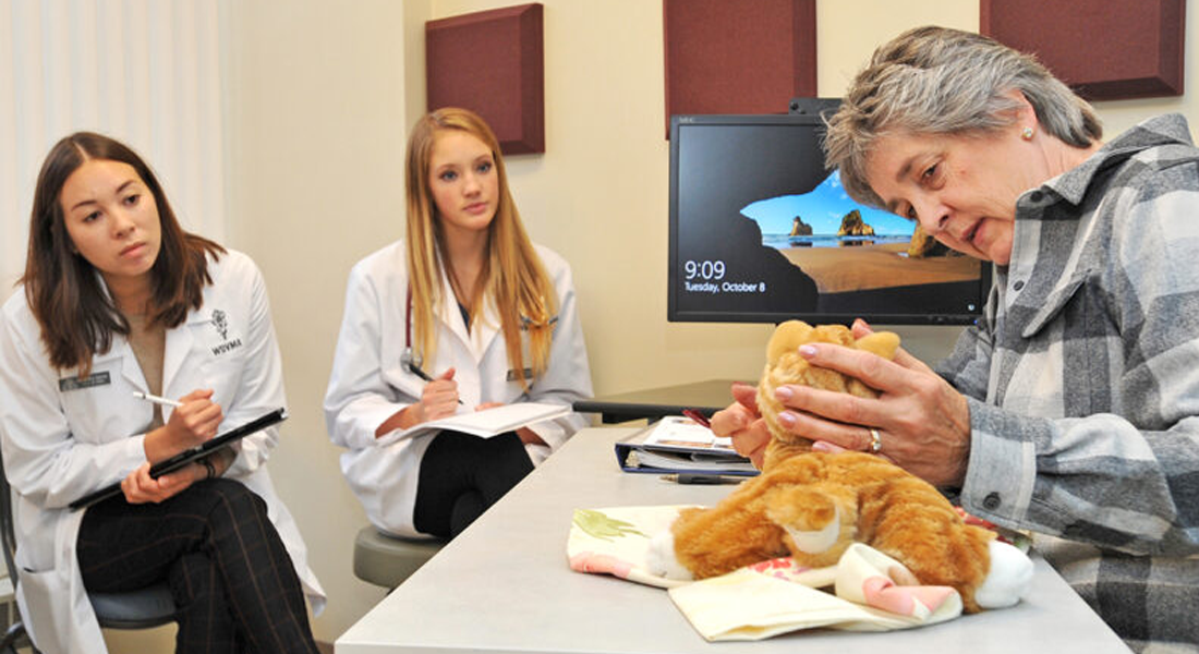Second-year veterinary students attending the Diagnostic Challenges take notes as acting client Kathy Slinker explains the trouble she is having with her stuffed pet.