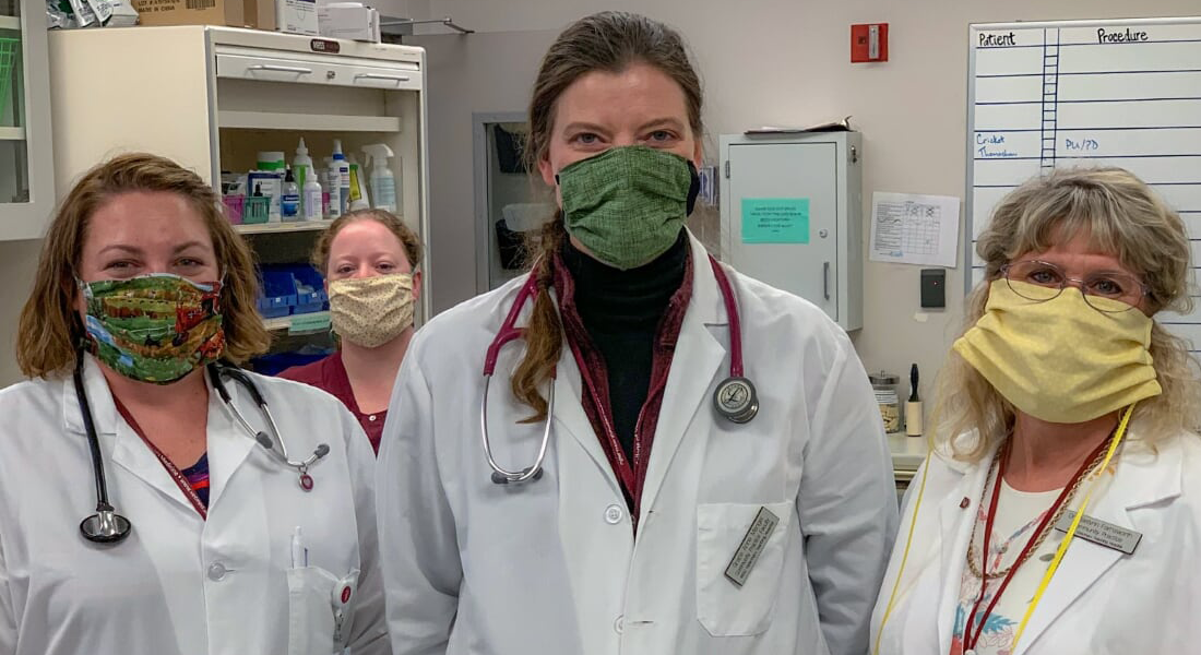 Three veterinarians and on technician wearing masks that were donated.