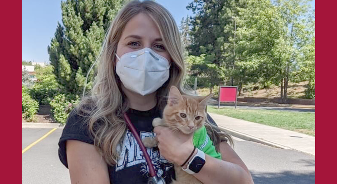Carly Ellingsen with her cat, George