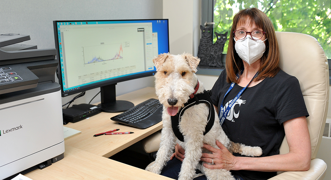 Dr. Katrina Mealey poses for a picture with her dog Borghi.